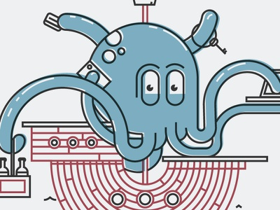 Multitasking Octopus character design capitan multitask ship happiness octopus shirt animal vector illustration