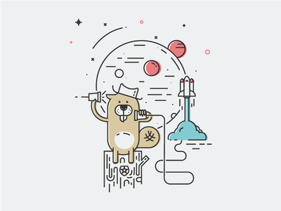 The Beaver, space manager planets ship spacial beaver design shapes color illustration vector funny draw character