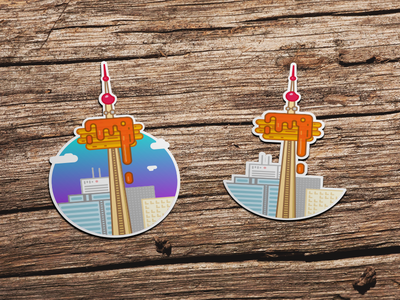 Toronto Hot Cake Tower vector tower sticker shape palette illustrations draw design city toronto canada