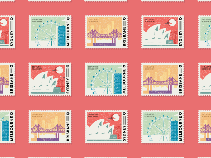 Auth0 Roadshow Stickers brisbane melbourne sydney stamp australia journey design vector illustration sticker