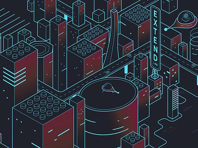 Future City - Extend Labs lego cyberpunk lab extend draw pixel mini block isometric design future city