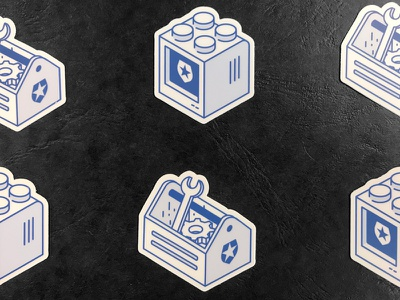 Extend Stickers blue illustration pixel design draw lego auth0 extend monitor toolbox