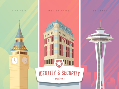 Security & Identity Meetup Cities architecture cityscape seattle melbourne london building city typography pixel color illustration draw vector design