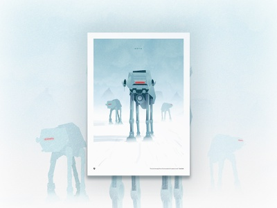 Hoth and its AT-AT star wars landscape hoth galaxy planet pixel character color draw vector poster design graphic illustration