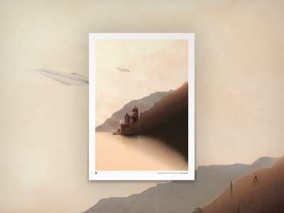 Naboo Castle print poster pixel landscape galaxy naboo planet wars star spaceship color draw vector design graphic illustration