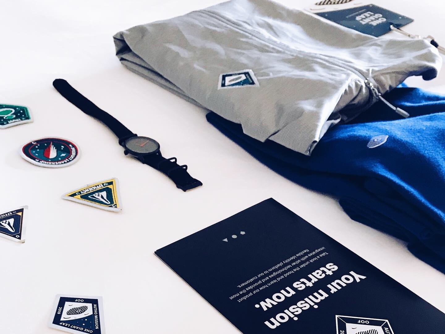 One Giant Leap Offsite Swag kit swag system patches watch backpack mug stickers branding shirt logo graphic pixel color draw vector design