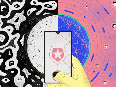 Identity World 2023 cellphone eye net universe dark user identity geometry world darkness graphic pixel color draw vector illustration design