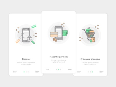 E-commerce onboarding screens