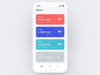 Clock iOS App - Add Alarm Flow alarm uigiants ios user interface interactive design interactions interaction design animation product design alarm clock alarm app mobile graphic ux ui design
