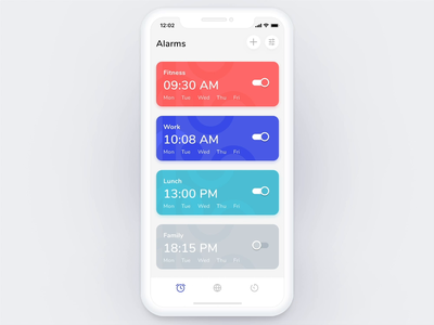 Clock iOS App - Add Alarm Flow alarm uigiants ios user interface interactive design interactions interaction design animation product design alarm clock alarm app mobile graphic ux ui design