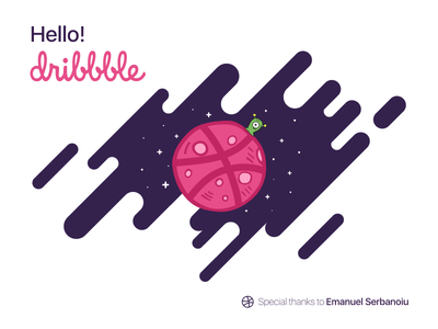 Hello Dribbble! space hello dribbble first shot debut hello
