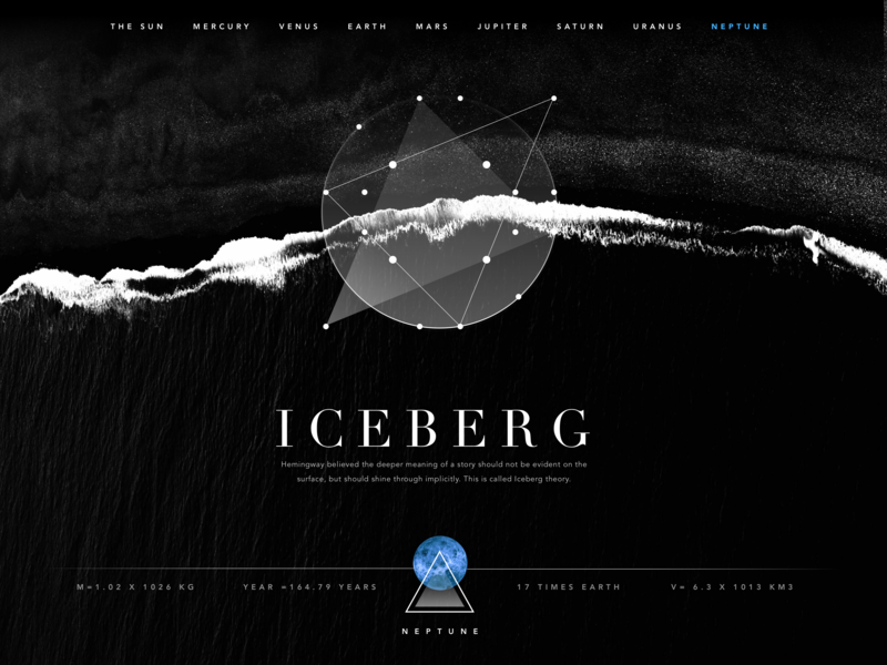 Experimental Planets app brand design identity vector typography futuristic simple solar neptune constelation black and white desktop galaxy symbolism planets ux ui
