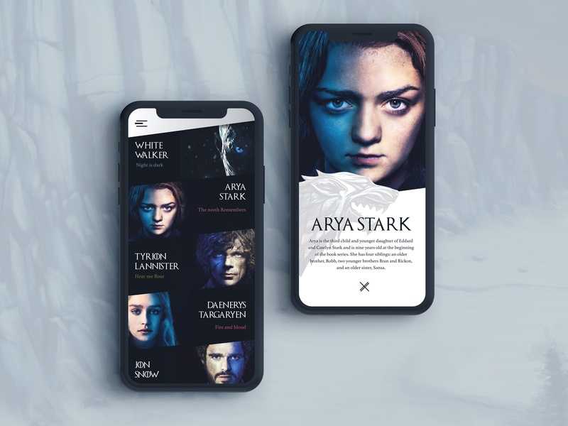 Game Of Thrones branding typography design apple hbo intuitive detail simple challenge series movie fun mobile app character game of thrones ux ui