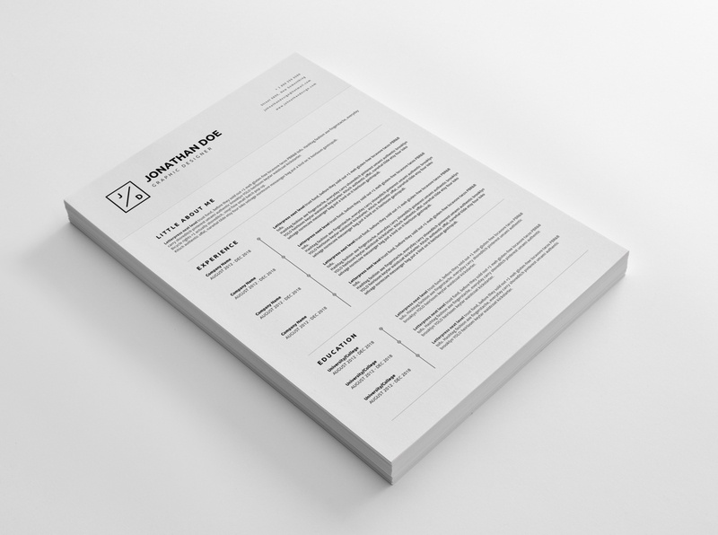 CV/Resume 04 - Clean and Minimal Print Ready