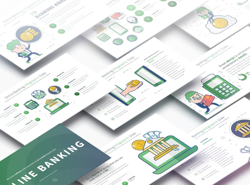 Online Banking - PowerPoint Infographics Slides