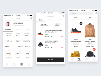 Omknee Profile Checkout & Catalog white catalog checkout profile minimal ios app ux ui ecommerce