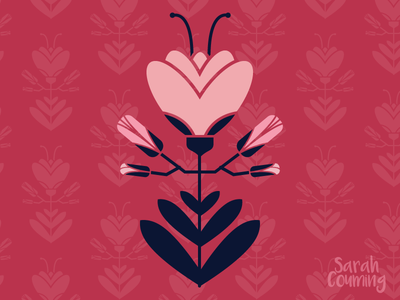 Flower Baroque pink symmetry design baroque nature flower illustrator illustration