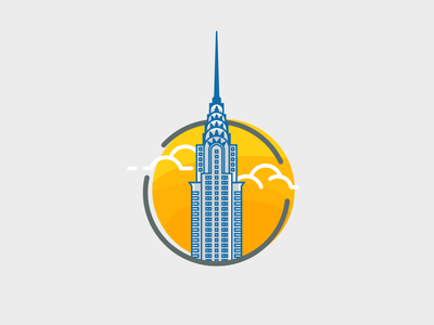 Chrysler Building chrysler building ny nyc new york city flat orange yellow graphic illustration