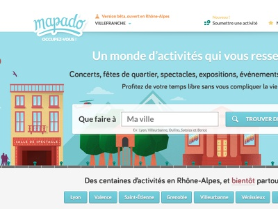 New Mapado homepage webdesign lettering long shadow illustration drawing buildings colors french events city searchbar monster