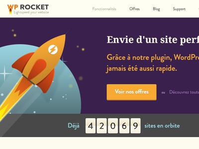 WP Rocket header webdesign flat rocket full-width header illustration logo wordpress