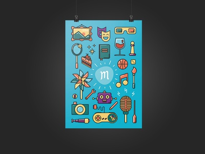 Poster for Mapado blue colors icons illustration cake wine basketball dice wind wrench camera music