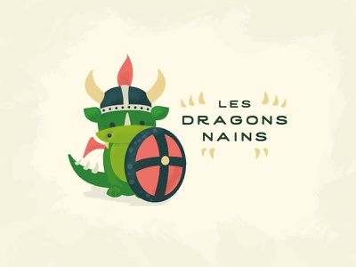 Dwarf Dragons - Les Dragons Nains Illustration helmet shield cute dwarf dragon logo illustration