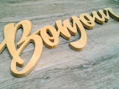 Bonjour Dribbble word bonjour lettering wood