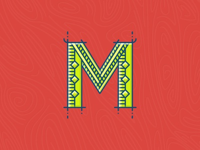 M green red m capital cap lettering