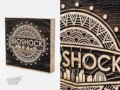 Bioshock lasercut object woodwork wood bioshock video game lasercut