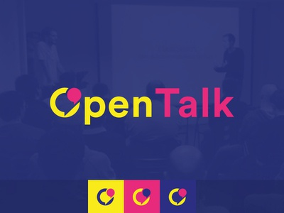 OpenTalk branding dark blue yellow pink branding logo