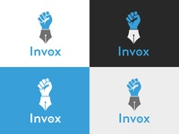 Invox logo design content marketing ink gray white blue logo