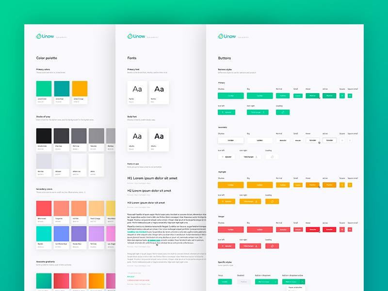 Unow Design System - UI kit by Christelle Mozzati for Unow
