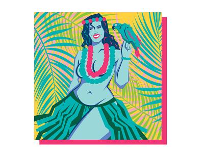 Hula Gal art vector tropical illustration design graphic design vintage pinup dance hula