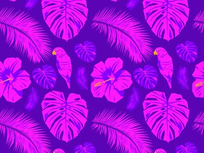 Pink And Purple Paradise Surface Design neon colors neon tropical illustration design graphic design surface pattern design surface design
