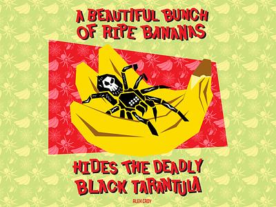 Black Tarantula surface pattern design surface pattern surface design spiders tropical illustration graphic design handlettering typedesign typography