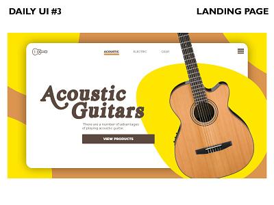 Daily UI #3 Landing Page guitar typography ux design branding dailyui ui landing page