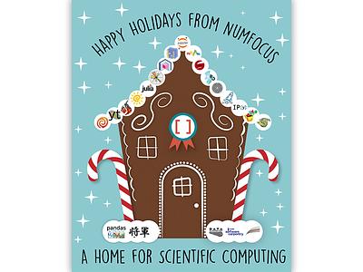 NumFOCUS Holiday Card greeting card data science gingerbread hanukkah chanukah candy data science computing christmas holidays