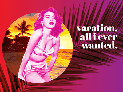 Paradise Pinup vacation rental vintage girl pinup hawaii tropical photo collage photoshop art vacation