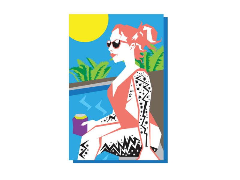 Lynsey At The Pool inked ink girls with tattoos tattoos swimming pool summer swimming pool beer graphic design pinup tropical atx art illustration design texas