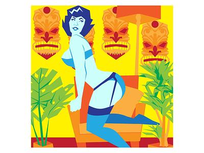 Tiki Tropicalia vintage graphic design design art pinup
