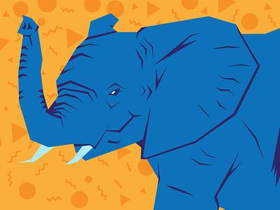 Elephant Illustration minimalist vintage design graphic design digital art elephants