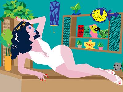 Bar Pinup midcentury modern midcentury tiki tropical alcohol design vintage illustration art pinup graphic design