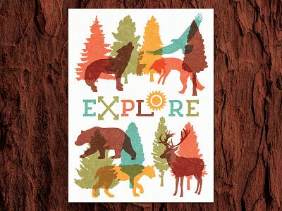 Explore Nature Print_BRD_11-7-20 design graphic art illustration procreate trees animals wild nature