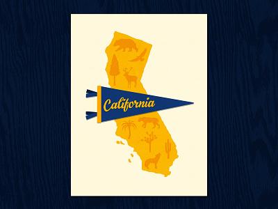 California Poster_BRD_11-16-20 map illustration poster art nature wildlife california pennant procreate art procreate app