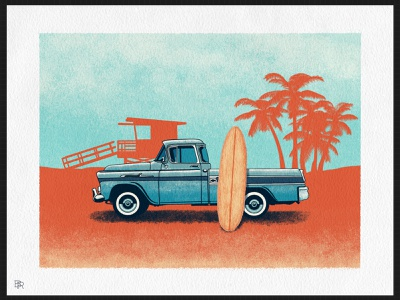 Beach Truck_BRD_11-28-20 illustration procreate brushes procreate art pickup truck beach surf procreate app retro vintage