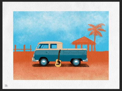 Vintage VW Truck_BRD_11-29-20 volkswagen procreate brushes procreate art illustration procreate app guitar surf beach pickup truck vw bus retro vintage