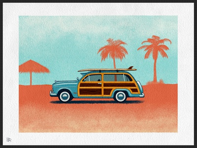 Beach Wagon_BRD_12-3-20 procreate brush procreate app procreate art illustration wood panel surf beach automobile car wagon retro vintage