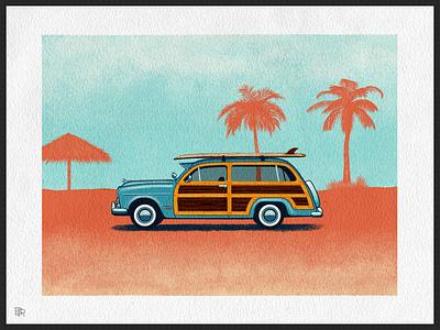 Beach Wagon_BRD_12-3-20 procreate brush procreate app procreate art illustration wood panel surf beach automobile car wagon retro vintage