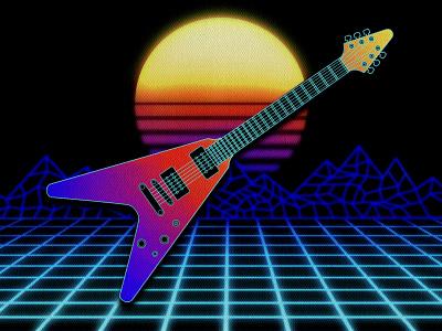 Synthwave Guitar_BRD_1-24-21 1980s retro procreate brushes procreate procreate art illustration music flying v guitar retrowave vaporware synthwave