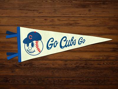 Cubs Retro Pennant_BRD_3-28-21 design flag illustration procreate brushes procreate art retro vintage pennant baseball chicago cubs